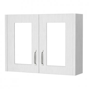 Cali Traditional Mirrored Bathroom Cabinet 800mm Wide 2 Door - White Ash