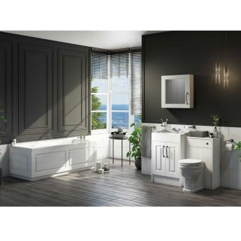 Cali Traditional 2-Doors Floor Standing Vanity Unit with Basin 800mm Wide - White Ash