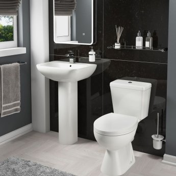 Cali Unison Basin with Full Pedestal 560mm Wide - 1 Tap Hole