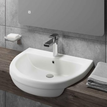 Cali Vessel Semi Recessed Basin 500mm Wide - 1 Tap Hole