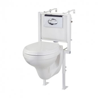 Cali Victor Wall Hung Toilet Pan with Wall Hung Frame and Concealed Cistern - Soft Close Seat