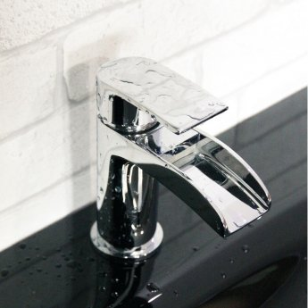 Cali Vigo Waterfall Mono Basin Mixer Tap - Deck Mounted - Chrome
