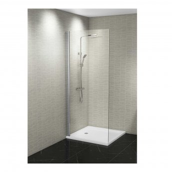 Cali Wetroom Shower Wall 2 Panels 2400mm x 600mm x 7mm - Grey Stone Tile Effect