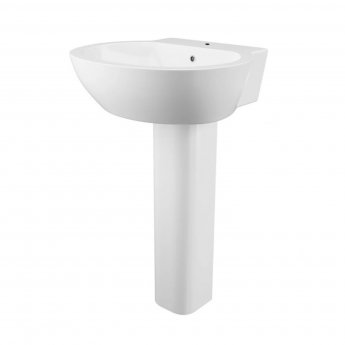 Cali Wharfe Basin with Full Pedestal 540mm Wide - 1 Tap Hole