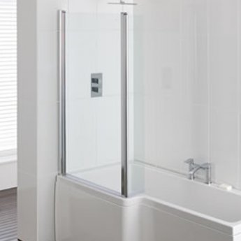 Carron Quantum Square Hinged Shower Bath Screen 1440mm H x 810mm Wide - Silver