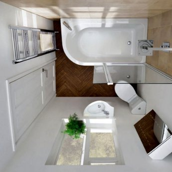 Carron Status 1550mm x 850mm Shower Bath LH 5mm Acrylic - White