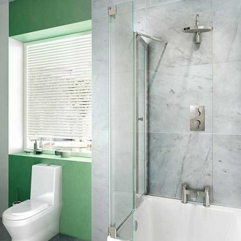 Cleargreen EcoSquare Bath screen with Hinged End Panel 1400mm High - Left Handed