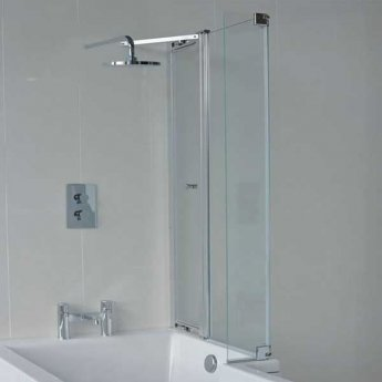 Cleargreen EcoSquare Bathscreen with Hinged End Panel 1450mm High - Right Handed