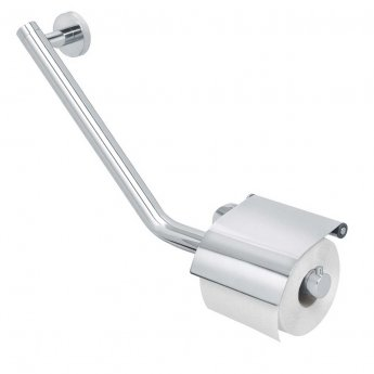 Coram Boston Safety Bar with Toilet Roll Holder 135 Degree Right - Stainless Steel Polished