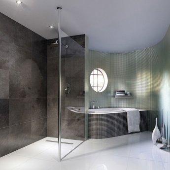 Coram Column Wet Room Glass Panel 1200mm Wide - 8mm Glass