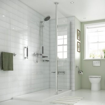 Coram Column Wet Room Glass Panel 900mm Wide - 8mm Glass