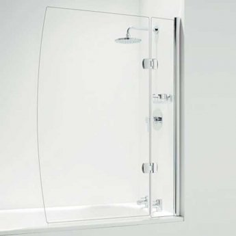 Coram Designer 1400mm High x 800mm Wide Hinged D Shape Bath Screen with Basket - 5mm Glass