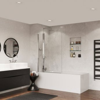 Coram Frameless Square Bath Screen 1400mm High x 1050mm Wide - 5mm Glass
