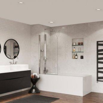 Coram Frameless Compact Curved Bath Screen 1400mm High x 800mm Wide - 5mm Glass