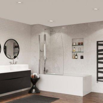 Coram Frameless Sail Bath Screen 1400mm High x 1050mm Wide - 5mm Glass