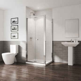 Coram GB 5 Bi-Fold Shower Door 760mm Wide - 5mm Plain Glass