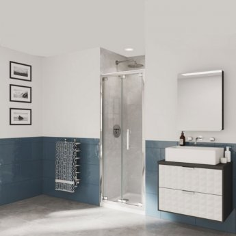 Coram Optima 6 Bi-Fold Shower Door 1000mm Wide - 6mm Plain Glass