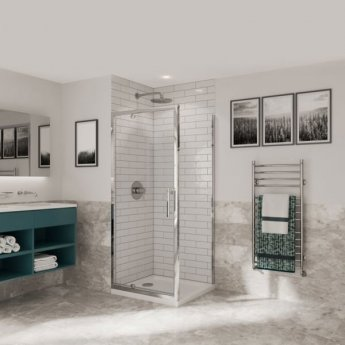 Coram Optima 6 Pivot Shower Door 760mm Wide - 6mm Plain Glass