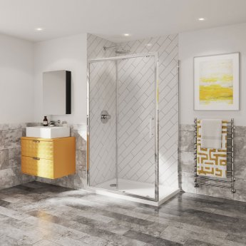 Coram Optima 6 Sliding Shower Door 1400mm Wide - 6mm Plain Glass