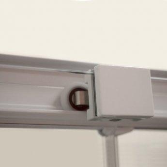 Coram Optima 6 White Sliding Shower Door 1400mm Wide - 6mm Plain Glass