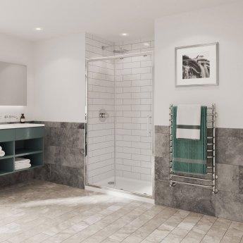 Coram Optima 6 Sliding Shower Door 1100mm Wide - 6mm Plain Glass