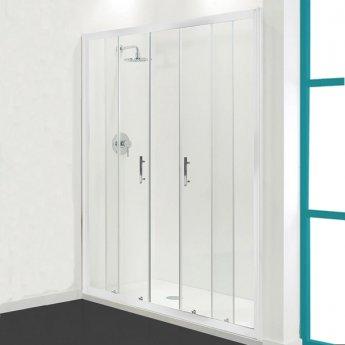 Coram Optima 6 White Double Sliding Shower Door 1700mm Wide - 6mm Plain Glass