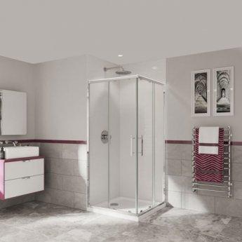 Coram Optima 6 Corner Entry Shower Enclosure 800mm x 800mm - 6mm Plain Glass