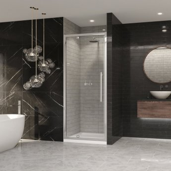 Coram Premier 8 Pivot Shower Door 1000mm Wide - 8mm Plain Glass