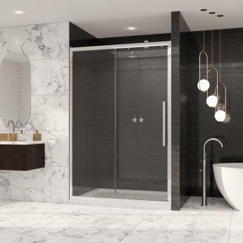 Coram Premier 8 Sliding Shower Door 1300mm Wide - 8mm Plain Glass