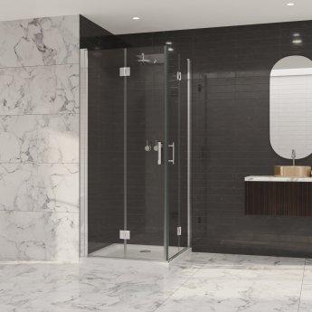Coram Premier 8 Double Bi-Fold Door Shower Enclosure 900mm x 900mm - 8mm Glass