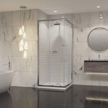 Coram Premier 8 Corner Entry Shower Enclosure 900mm x 900mm - 8mm Plain Glass