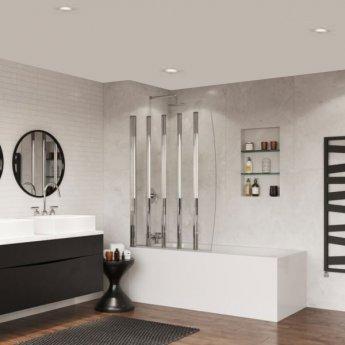 Coram 5 Panel Folding Bath Screen 1400mm High x 1060mm Wide - 4mm Glass