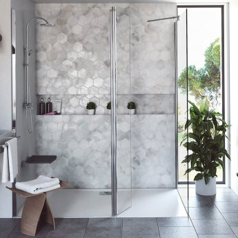 Coram Stylus Wet Room Glass Panel, 800mm Wide, 8mm Plain Glass