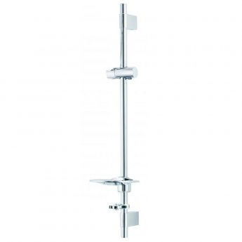 Deva Adjustable Riser Rail with Bracket and Push Button Handset Slider - Chrome