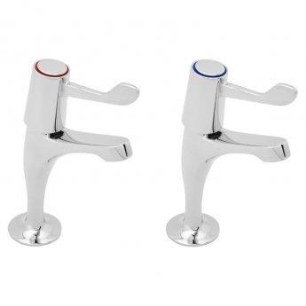 Deva Kitchen Sink Taps, Metal Backnuts, 3 Inch Lever Handles, Pair, Chrome