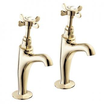 Deva Coronation High Neck Kitchen Sink Taps Pair, Pillar Mounted, Gold