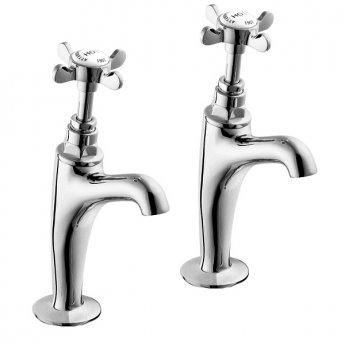 Deva Coronation High Neck Kitchen Sink Taps Pair, Pillar Mounted, Chrome