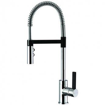 Deva Gaston Side Lever Kitchen Sink Mixer Tap with Pull Out Spray - Matte Black