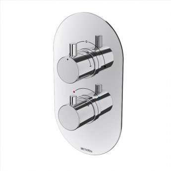 Deva Kaha Thermostatic Concealed Shower Valve with 2 Outlet Dual Handle - Chrome