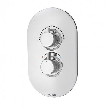 Deva Kaha Thermostatic Concealed Shower Valve with 2 Outlet Dual Handle ABS Plate - Chrome