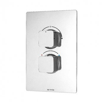 Deva Kiri Thermostatic Concealed Shower Valve with 2 Outlet Dual Handle - Chrome