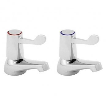 Deva Lever Action 3 Inch Basin Taps Pair Chrome (with Metal Backnuts)