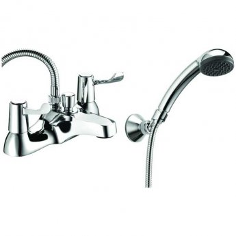 Deva Lever Action 3 Inch Deck Mounted Bath Shower Mixer Tap Chrome (with Metal Backnuts)