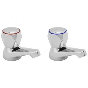 Deva Profile Basin Taps Pair Chrome (with Metal Backnuts)