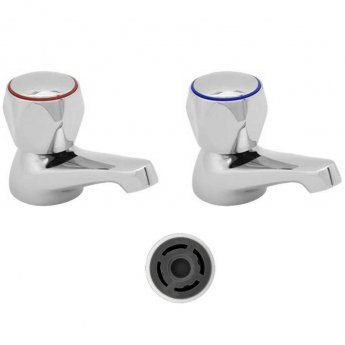 Deva Profile Basin Taps (Pair) with 4 litre Flow Regulator, Chrome