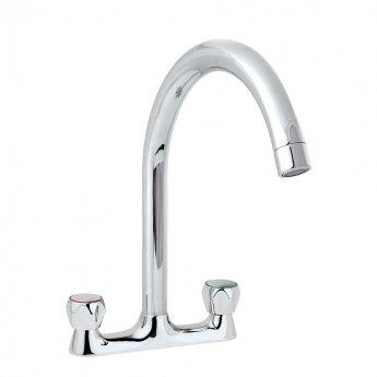 Deva Profile High Spout Deck Mounted Kitchen Sink Mixer Tap - Chrome