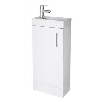 Duchy Alaska Floor Standing 1-Door Vanity Unit with Basin 400mm Wide - Gloss White