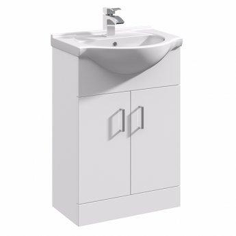 Duchy Alaska Floor Standing 2-Door Vanity Unit with Basin 550mm Wide - White