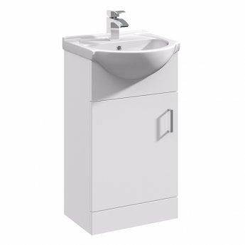 Duchy Alaska Floor Standing 1-Door Vanity Unit with Basin 450mm Wide - White