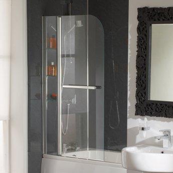 Duchy Cascade Bath Screen 1400mm High x 800mm Wide - 5mm Glass